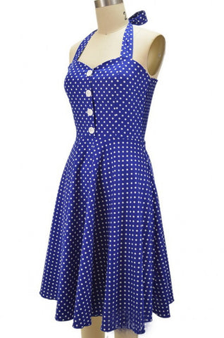 Black Long Polka Dot Vintage Dress