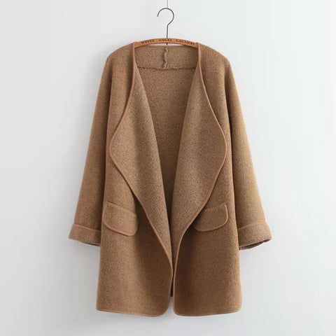 Long sweater cardigan in Beige