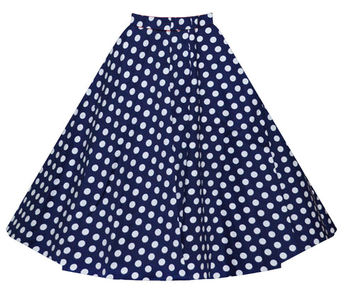 Blue Polka Dot Vintage Midi Skirt