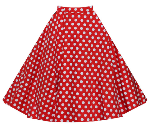 Red Polka Dot Vintage Midi Skirt