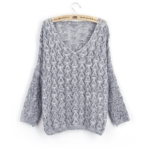 Crochet Bat-wing Sweater in Light Gray