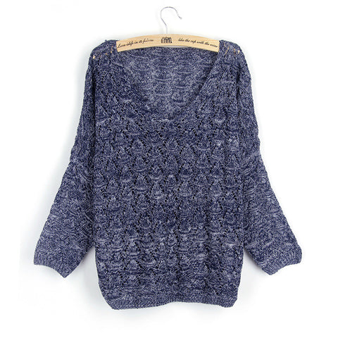 Crochet Bat-wing Sweater in Navy Blue