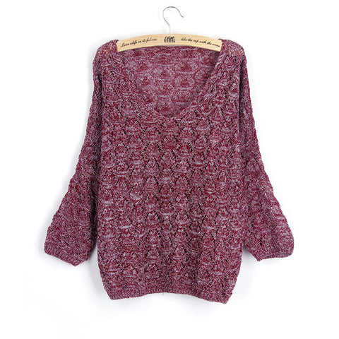 Crochet Bat-wing Sweater in Burgundy