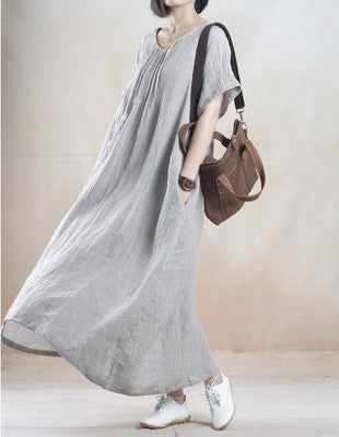 Gray Loose Cotton Short Sleeve Dress