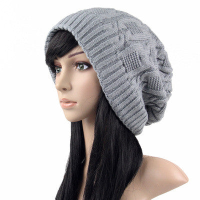 Gray Slouchy knitted hat