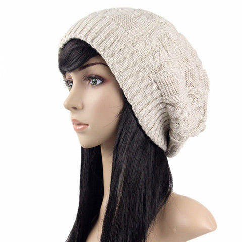 Beige Slouchy Knitted Hat