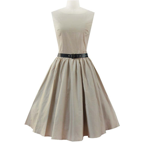 Beige Belted Vintage Dress