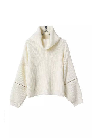 Short Turtle Neck Sweater in White