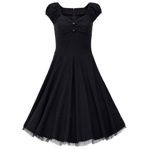 Black Vintage Dress with Lace Trim