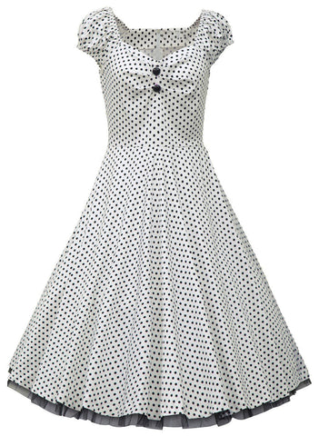 White Polka Dot Vintage Dress with Lace Trim