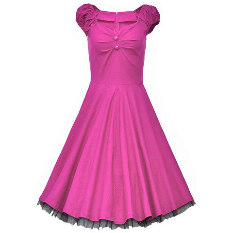 Pink Vintage Dress with Lace Trim