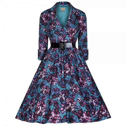 Belted Floral Half Sleeve Vintage Dress