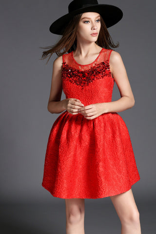 Red Beaded Lace Dress