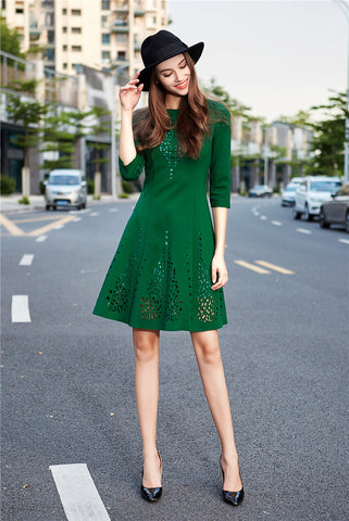 Green Crochet Mini Dress
