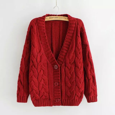 Cabled Sweater cardigan in Red