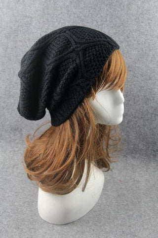 Black Cabled Knitted Hat