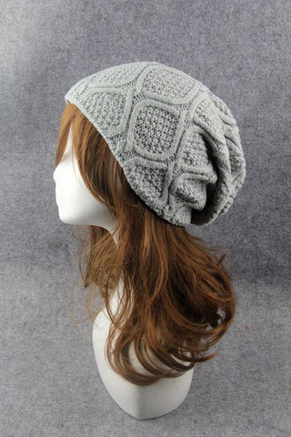 Gray Cabled Knitted Hat
