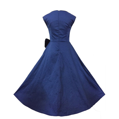 Navy Blue Vintage Dress with Bow