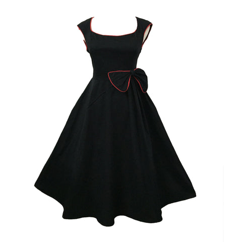 Black Vintage Dress with Bow