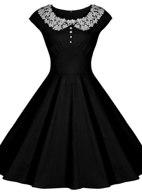 Black Vintage Dress With Lace Collar Lily Co