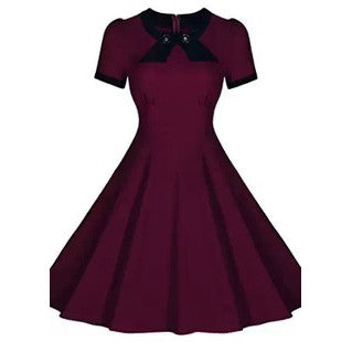 Burgandy Short Sleeve Vintage Dress
