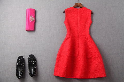 Red Embroidered Rose Dress