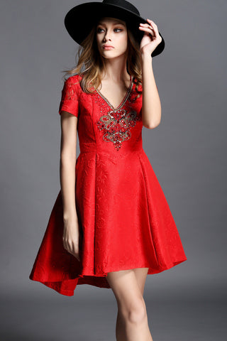 Red Beaded High Low Dress