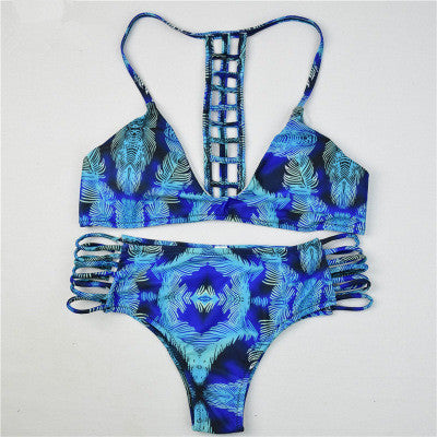 Blue Floral Print Swimsuit Swimwear Bikini Set
