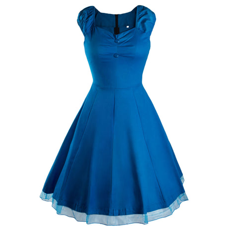 Blue Vintage Dress with Lace Trim