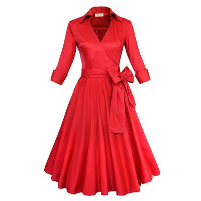 Belted Red Long Sleeve V-neck Dress