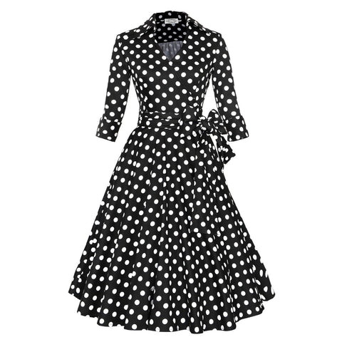 Copy of Belted Black Dot Long Sleeve V-neck Dress