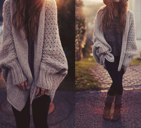 Brown Bat-wing Sleeve Loose Sweater cardigan