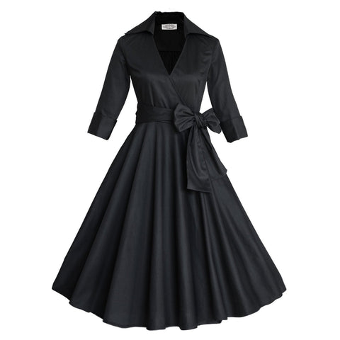 Belted Black Long Sleeve V-neck Dress