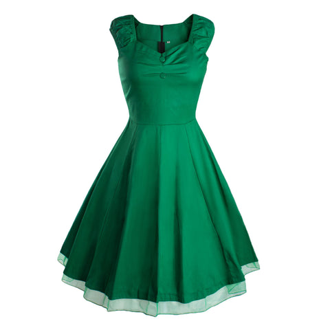 Green Vintage Dress with Lace Trim
