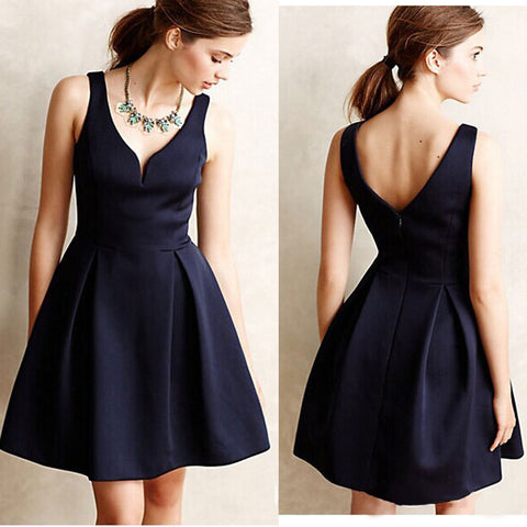 Navy Blue Sexy Backless Mini Dress