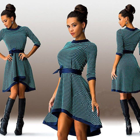 Green Long Sleeve Plaid High Low Dress