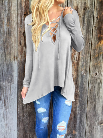 Gray Long Sleeve Loose T Shirt