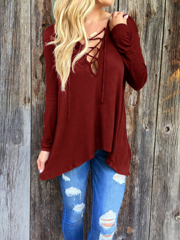 Burgundy Long Sleeve Loose T Shirt