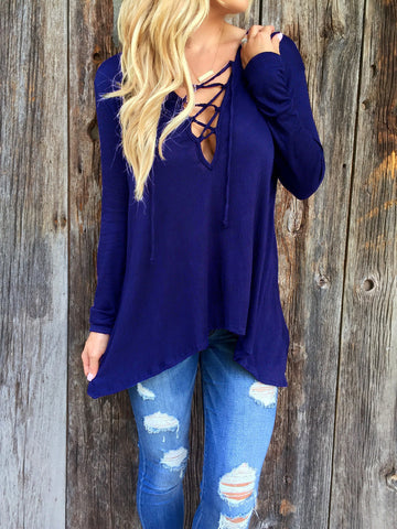 Blue Long Sleeve Loose T Shirt