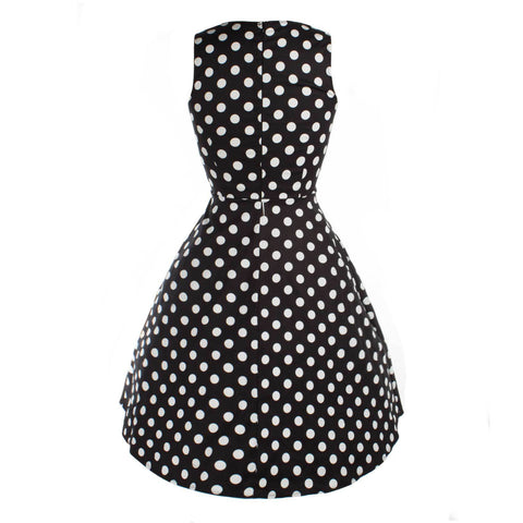 Black Sleeveless V-neck White Dot Dress
