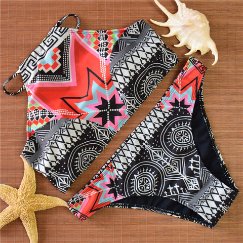 Black Aztec Print Swimsuit Swimwear Bikini Set
