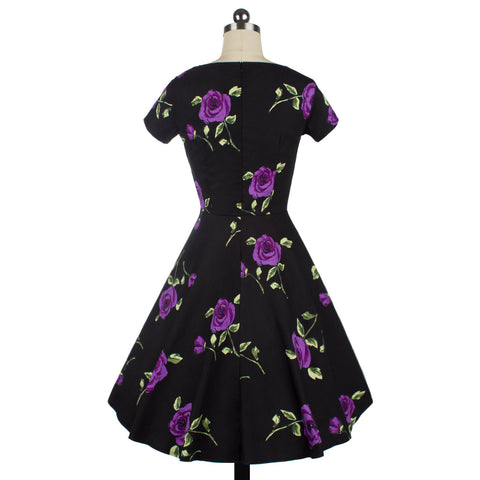Black Printing Purple Rose Sleeveless V-neck Vintage Dress