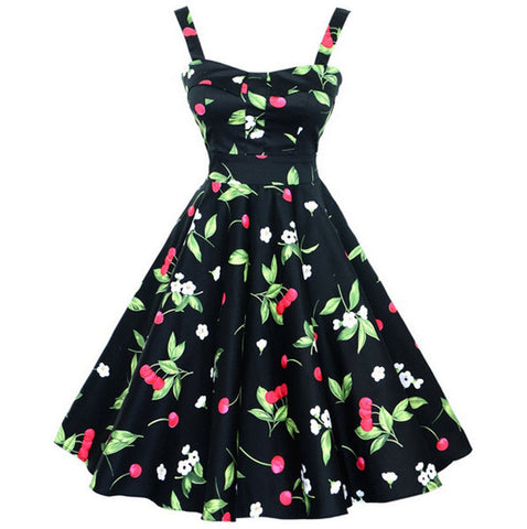 Black Cherry Halter Midi Vintage Dress