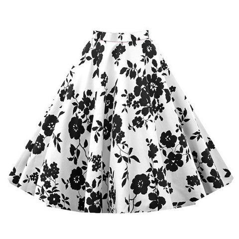 Black and White Floral Vintage Midi Skirt