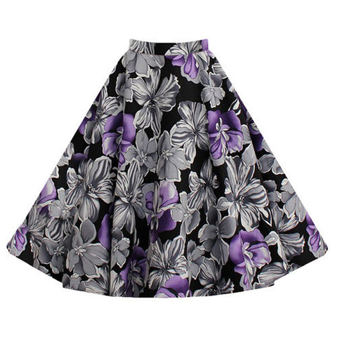 Purple Floral Vintage Midi Skirt