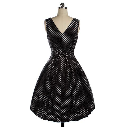 Black Dot Sleeveless V-neck Dress