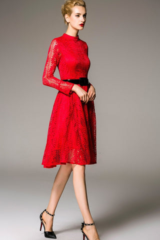 Red Belted Long Sleeve Lace Midi Dress