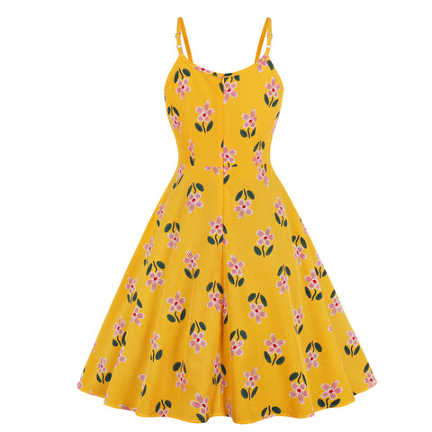 Yellow Floral Halter Vintage Dress