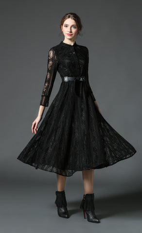 Black Belted Long Sleeve Lace Midi Dress