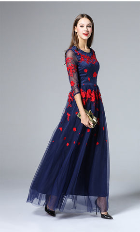 Navy Embroidered Maxi Dress